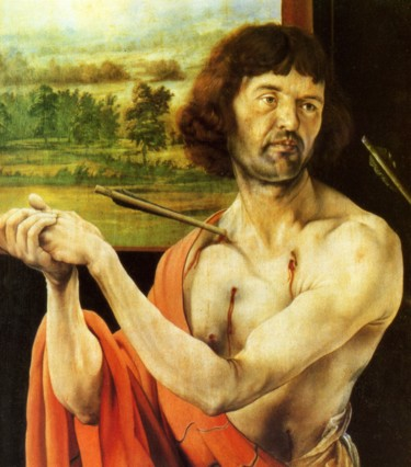 Fig. 10. Grünewald, Isenheim Altarpiece, First view, left wing (St. Sebastian), detail.