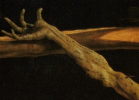 Fig. 1b. Grünewald, Isenheim Altarpiece, First view (Crucifixion), details.