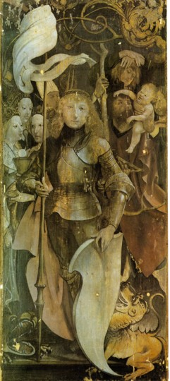 Fig. 5. Grünewald, Lindenhardt Alterpiece, Left wing, closed (St. George), c. 1503, Pfarrkirche St. Michael, Lindenhardt, Germany.