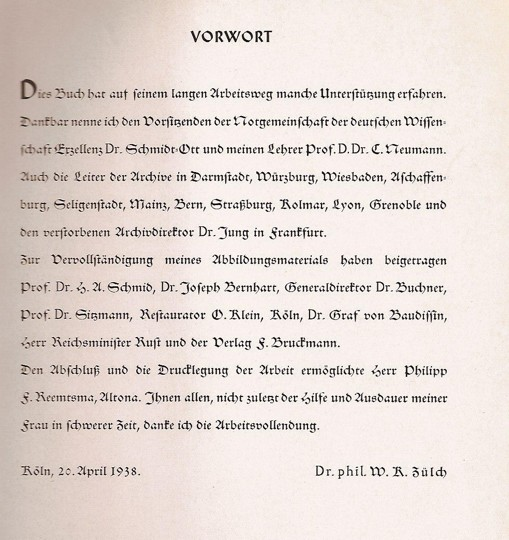 Fig. 9. Acknowledgements page in Walter Karl Zülch's Der historische Grünewald: Mathis Gothardt-Neithardt (Munich: F. Bruckmann, 1938).