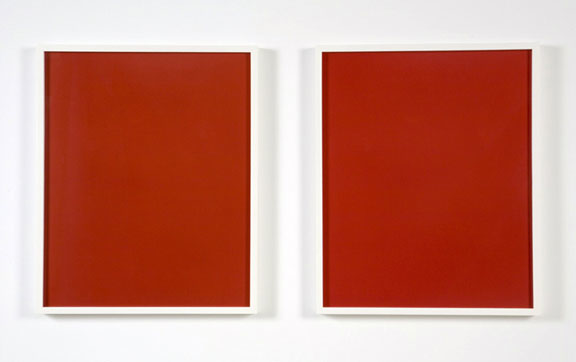 Liz Deschenes, Red Transfer (diptych), 1997-2003; Dye transfer prints; 19 ¾ x 36 5/8 inches