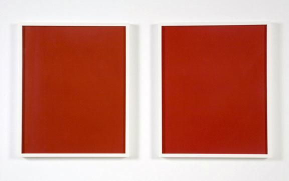 Liz Deschenes, Red Transfer (diptych), 1997-2003; Dye transfer prints; 19 ¾ x 36 5/8 inches