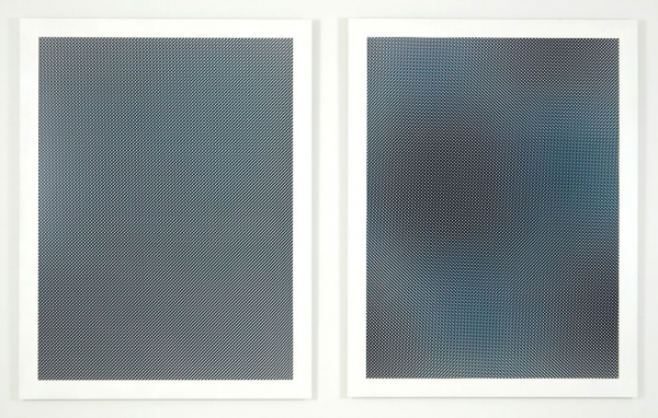 Liz Deschenes; Moiré #6 & #7 (diptych), 2007; UV laminated chromogenic prints; Framed: 60 x 97 11/16 inches (152.4 x 248.1 cm); Each sheet size: 54 x 40 inches (137.2 x 101.6 cm); Unique prints