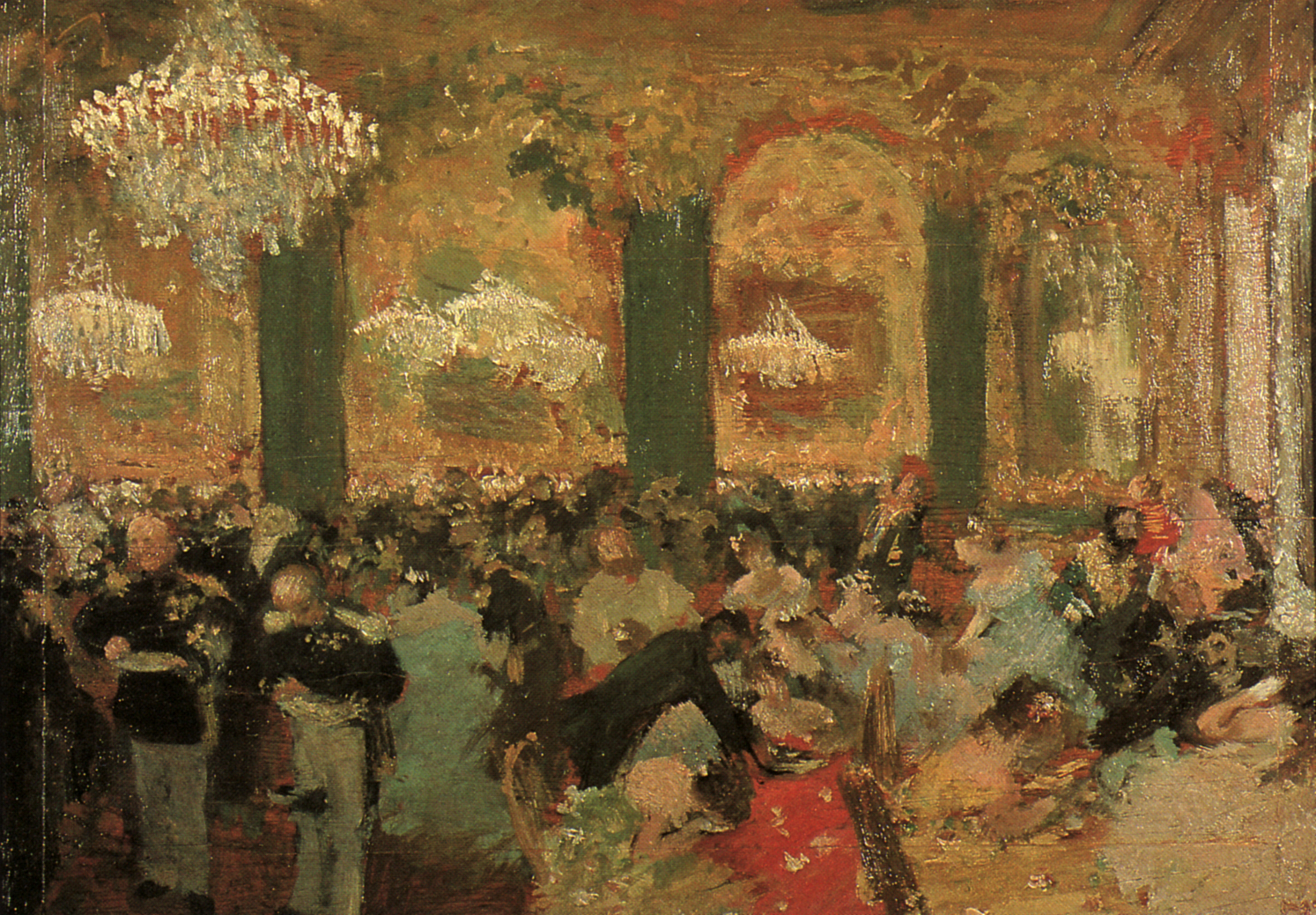 Fig. 6. Edgar Degas, after Adolph Menzel, Supper at the Ball, 1879. Oil on wood panel, 17 3/4 × 26 1/3 in. (45 × 67 cm). Musée d'Art Moderne et Contemporaine, Strasbourg