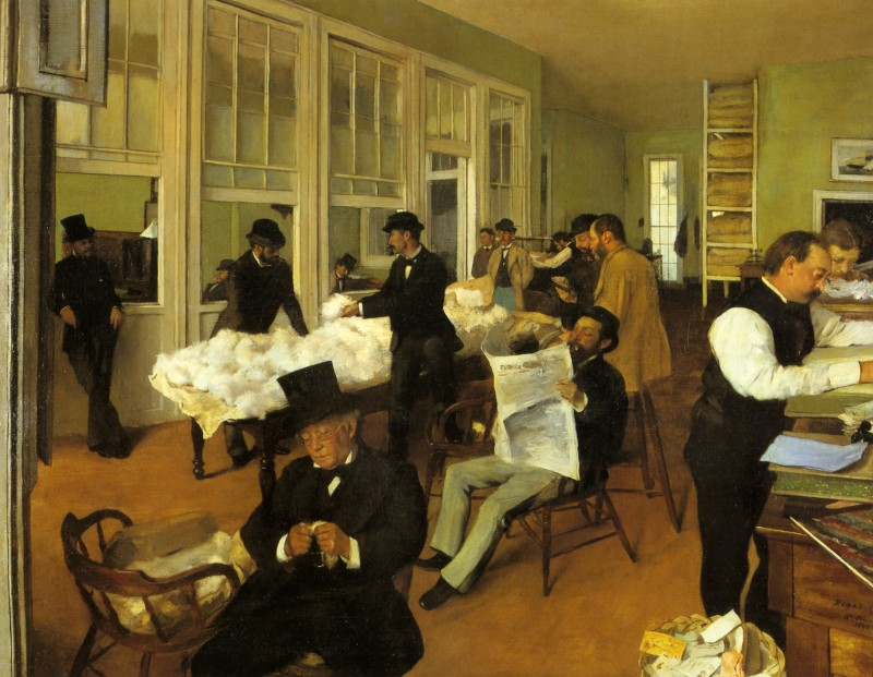 Fig. 7. Edgar Degas, Portraits in an Office (New Orleans), 1873. Oil on canvas, 28 3/4 × 36 1/4 in. (73 × 92 cm). Musée des Beaux-Arts, PauEdgar Degas, Portraits in an Office (New Orleans), 1873. Oil on canvas, 28 3/4 × 36 1/4 in. (73 × 92 cm). Musée des Beaux-Arts, Pau