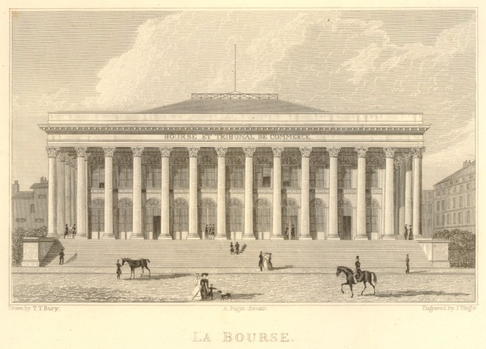 Fig. 8. Thomas Talbot Bury, La Bourse, 1829. Illustration from L.T. Ventouillac and Augustus Pugin, Paris and its Environs (London: Robert Jennings, 1829), 25