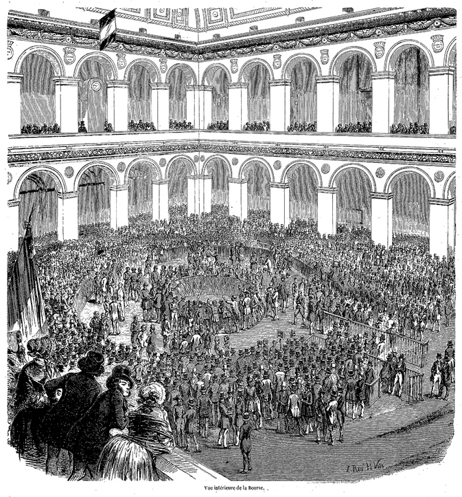 Fig. 9. Interior View of the Paris Bourse (Vue intérieure de la Bourse), 1853. Illustration from Edmond Texier, Tableau de Paris, vol. 2 (Paris: Paulin et Le Chevalier, 1853), 158