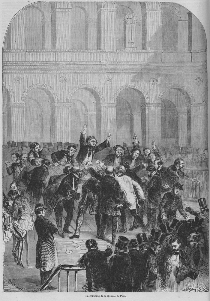 Fig. 10. The Corbeille of the Paris Bourse (La Corbeille de la Bourse de Paris), 1857. Illustration from Le Monde illustré 1, no. 2 (25 April 1857): 12