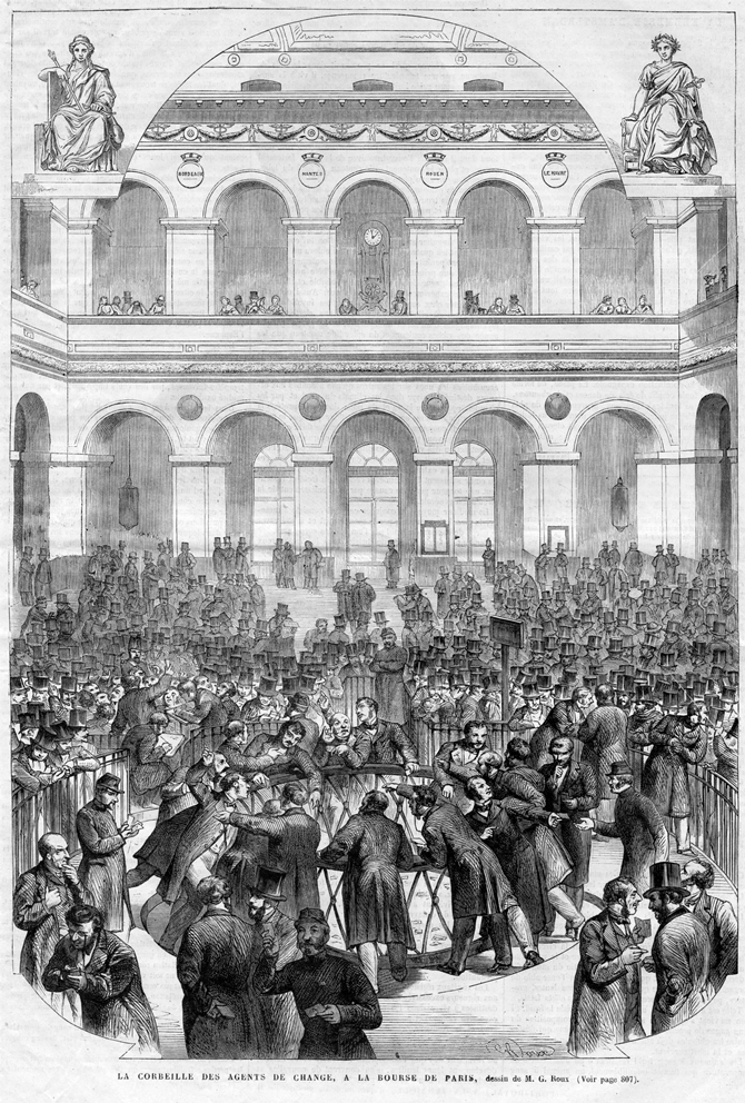 Fig. 11. Roux, A Circle of Stockbrokers at the Paris Stock Exchange (La Corbeille des agents de change à la Bourse de Paris), 1865. Illustration from L'Univers illustré 495 (20 December 1865): 805
