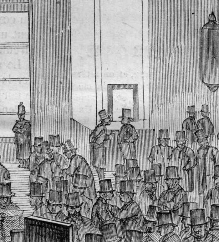 Fig. 12. Roux, A Circle of Stockbrokers at the Paris Stock Exchange, 1865 (detail of fig. 11)