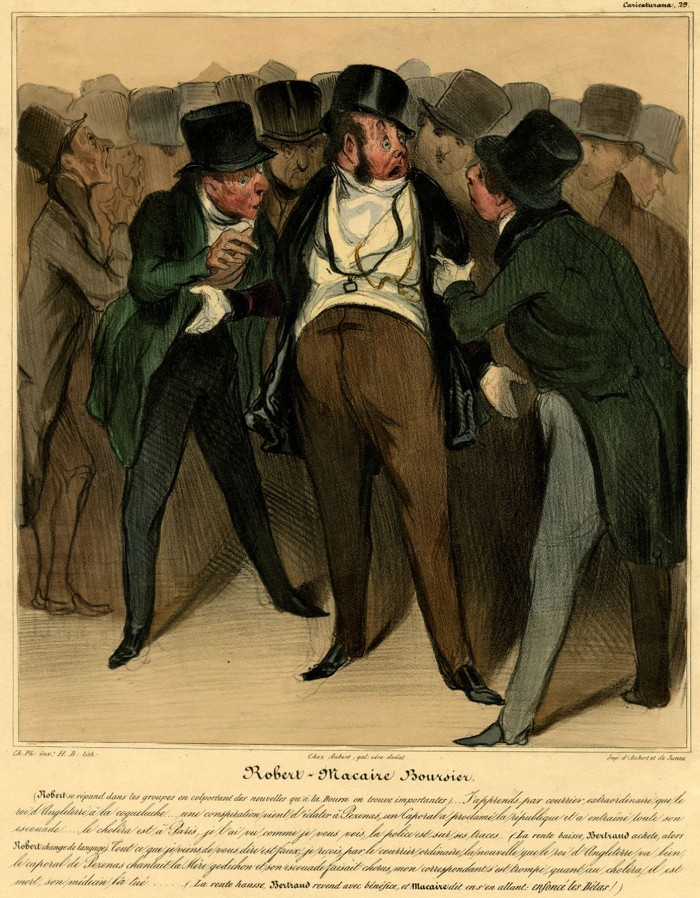 Fig. 13. Honoré Daumier, Robert-Macaire, boursier, 1837. Hand colored lithograph. Illustration from Le Charivari, 26 February 1837