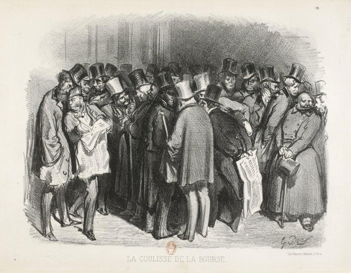 Fig. 14. Gustave Doré, La Coulisse de la Bourse, 1854. Lithograph, 10 1/4 × 13 1/2 in. (26 × 34 cm). Bibliothèque nationale de France, Paris