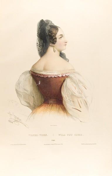 Fig. 16. Henri Grévedon, Le Vocabulaire des dames, No. 23, Venez-Vous. | Will You Come.