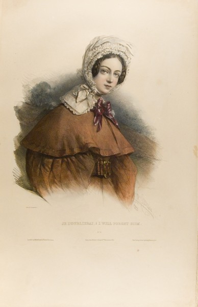 Fig. 18. Henri Grévedon, Le Vocabulaire des dames, No. 16, Je l'oublierai. | I Will Forget Him.