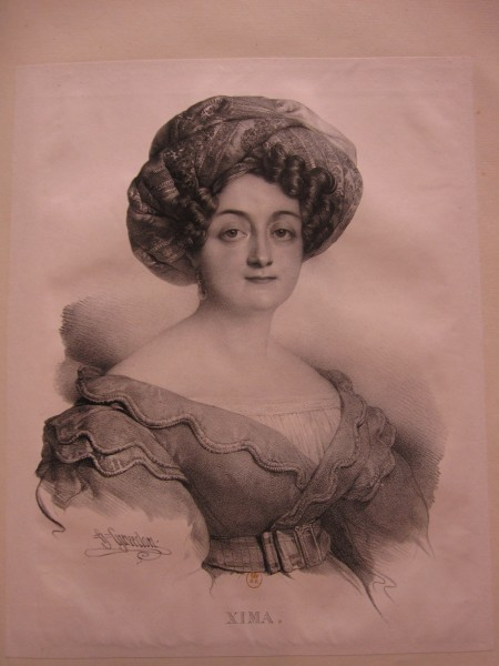 "Fig. 22. Henri Grévedon, Alphabet des Dames, ou Recueil de vingt-cinq portraits de fantaisie, ""Xima,"" Paris, Chaillou-Potrelle, 1828-1830, lithograph on in black on wove paper, 40.8 x 23.7 cm. (Bibliothèque nationale de France, Paris)."