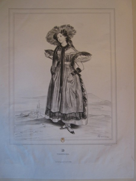 "Fig. 23. Achille Devéria, Alphabet varié, choix de costumes dessinés d'après nature, ""B, Viennoise,"" Paris, Adolphe Fonrouge, 1831, lithograph in black on wove paper, 43.4 x 32.8 cm (Bibliothèque nationale de France, Paris)."