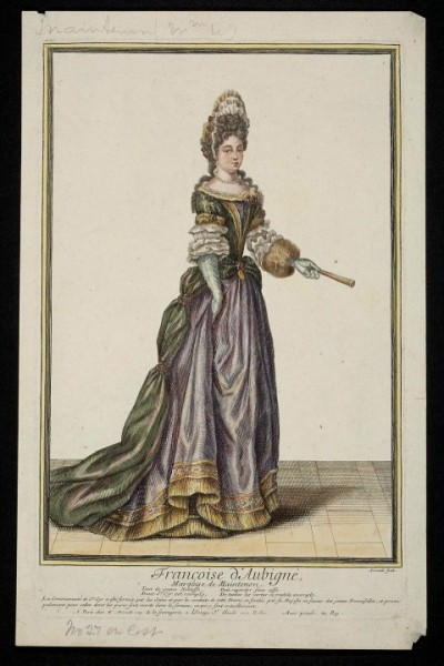 Fig. 3. Antoine Trouvain, Françoise d'Aubigné, Marquise de Maintenon, ca. 1691, hand-colored engraving on paper, 29 x 19 cm.