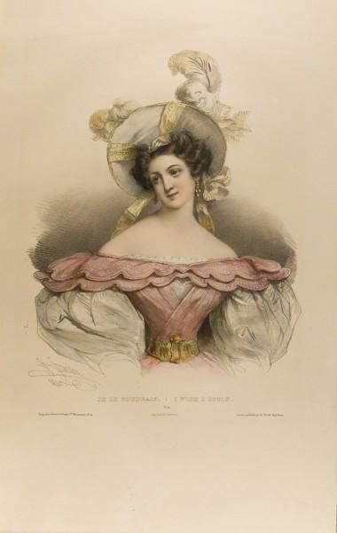 Fig. 4. Henri Grévedon, Le Vocabulaire des Dames, No. 10, I Wish I Could. | Je le voudrais.