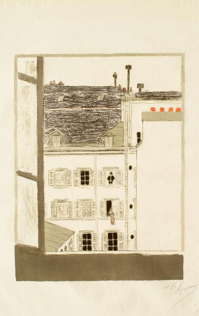 Fig. 10. Pierre Bonnard, Maison dans la cour (House in the Courtyard), from Quelques aspects de la vie de Paris (Some Aspects of Parisian Life), 1895-96, Lithograph in four colors on cream wove paper, sheet: 53 x 39.5 cm (The Metropolitan Museum of Art, New York, Harris Brisbane Dick Fund, 1928, 28.50.4[4])