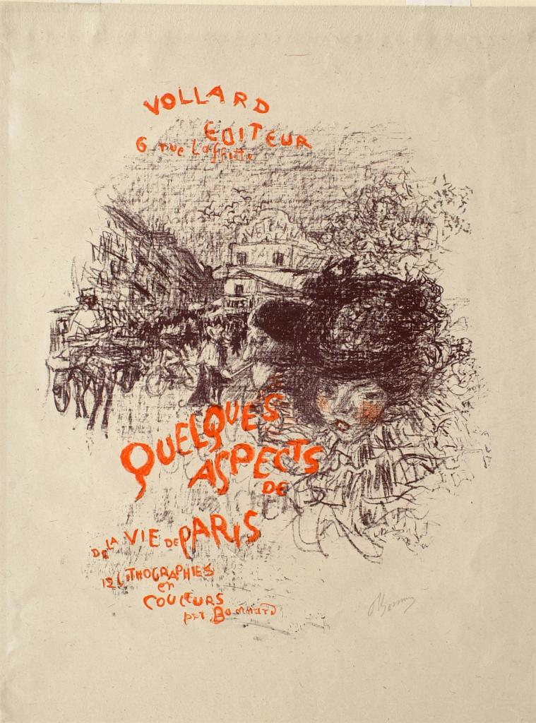 Fig. 11. Pierre Bonnard, Cover of the album Quelques aspects de la vie de Paris (Some Aspects of Parisian Life), ca. 1898, Lithograph in two colors on China paper, sheet: 53 x 40.6 cm (The Metropolitan Museum of Art, New York, Harris Brisbane Dick Fund, 1928, 28.50.4[1])