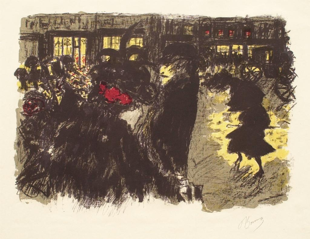 Fig. 6. Pierre Bonnard, Place le soir (The Square at Evening), from Quelques aspects de la vie de Paris (Some Aspects of Parisian Life), ca. 1897-98, Lithograph in five colors on cream wove paper, final state, sheet: 38.1 x 53.3 cm (The Metropolitan Museum of Art, New York, Harris Brisbane Dick Fund, 1928, 28.50.4[4])