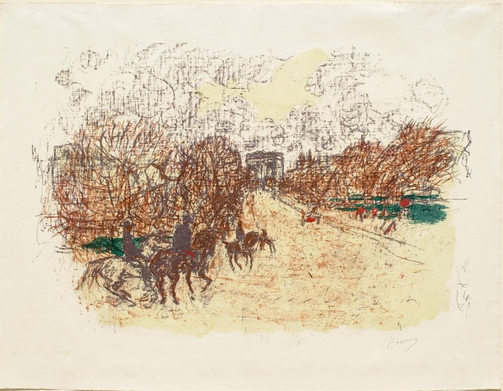 Fig. 8. Pierre Bonnard, Arc de Triomphe, from Quelques aspects de la vie de Paris (Some Aspects of Parisian Life), ca. 1898, Lithograph in five colors on cream wove paper, sheet: 40.5 x 53.5 cm (The Metropolitan Museum of Art, New York, Harris Brisbane Dick Fund, 1928, 28.50.4[12])
