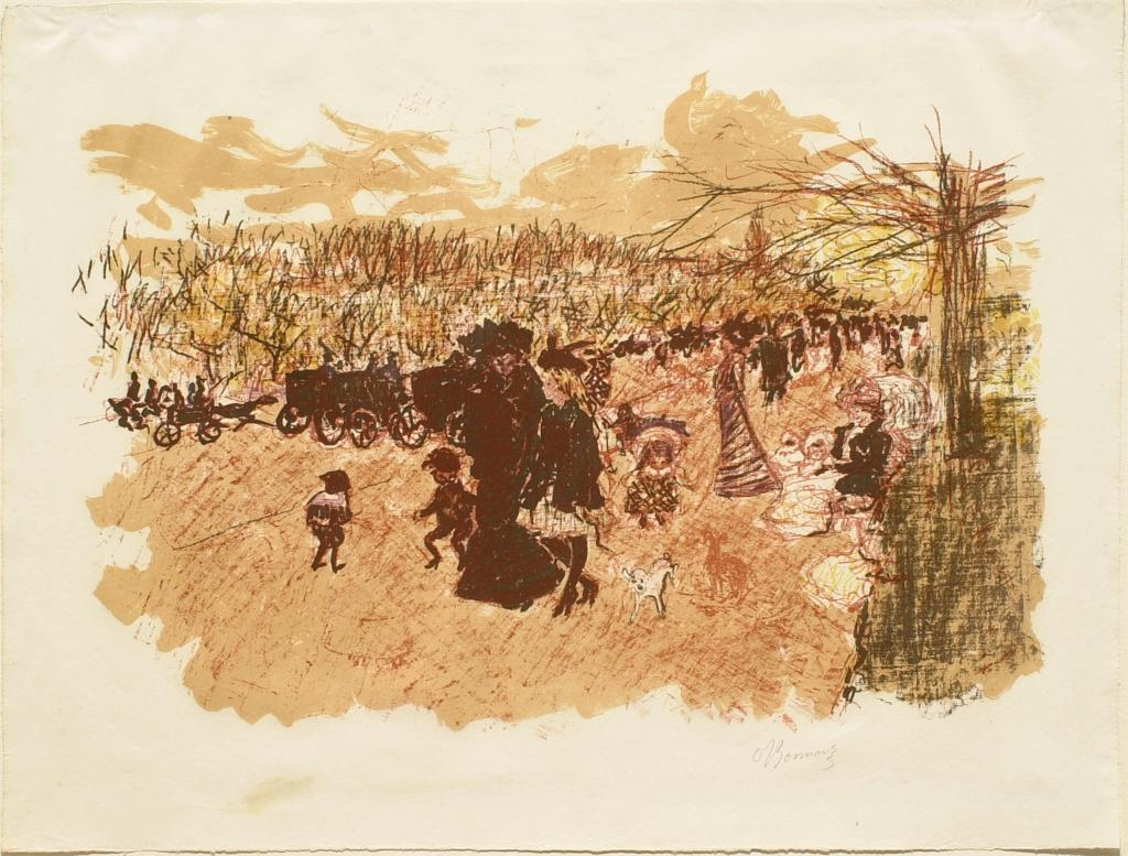 Fig. 9. Pierre Bonnard, Avenue du Bois de Boulogne (Avenue in the Bois de Boulogne), from Quelques aspects de la vie de Paris (Some Aspects of Parisian Life), ca. 1898, Lithograph in five colors on cream wove paper, sheet: 40 x 53 cm (The Metropolitan Museum of Art, New York, Harris Brisbane Dick Fund, 1928, 28.50.4[2])