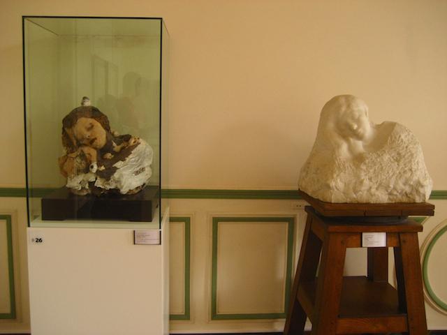 Auguste Rodin, Le Sommeil (Sleep), 1889-1894, Terracotta, plaster, wax, nails, modelling clay, newspaper (Musée Rodin, Paris); RIGHT: Auguste Rodin, Le Sommeil (Sleep), 1889-1894, Marble, H: 48 cm (Musée Rodin, Paris)