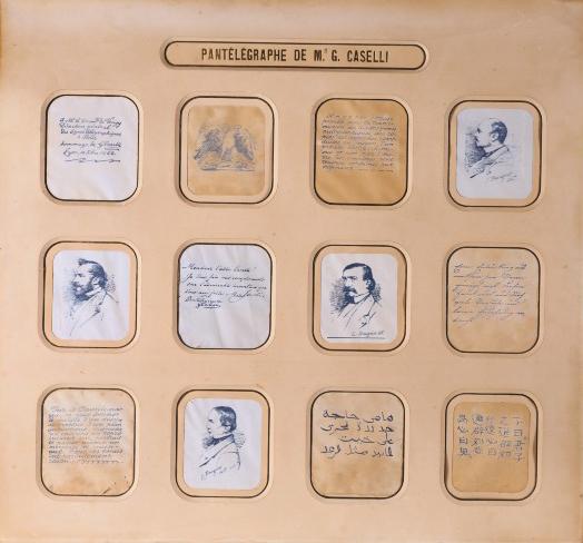 Fig. 11. Tableau présentant des manuscrits et dessins obtenus avec le télégraphe autographique dit pantélégraphe de Caselli, 1861. © Musée des arts et métiers-CNAM, Paris/Pascal Faligot