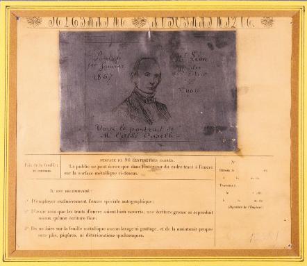 Fig. 12. Portrait de Giovanni Caselli, obtenue avec le télégraphe autographique dit pantélégraphe de Caselli, 1867. © Musée des arts et métiers-CNAM, Paris/Pascal Faligot