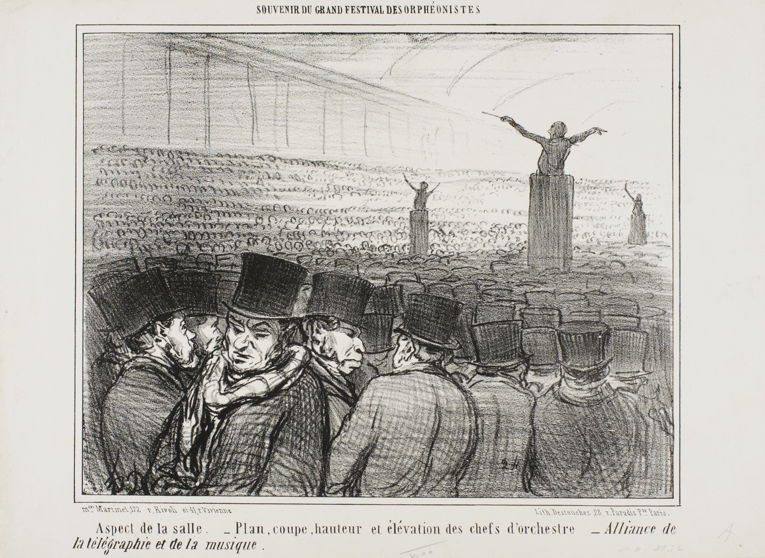 Fig. 14. Honoré Daumier, Souvenir du Grand Festival des Orphéonistes. Aspect de la salle. – Plan, coupe, hauteur et élévation des chefs d'orchestre – Alliance de la télégraphie et de la musique, published in Le Charivari, 2 April 1859, lithograph in black on white wove paper, 20.8 x 26.5cm. William McCallin McKee Memorial Endowment 1953.591. The Art Institute of Chicago