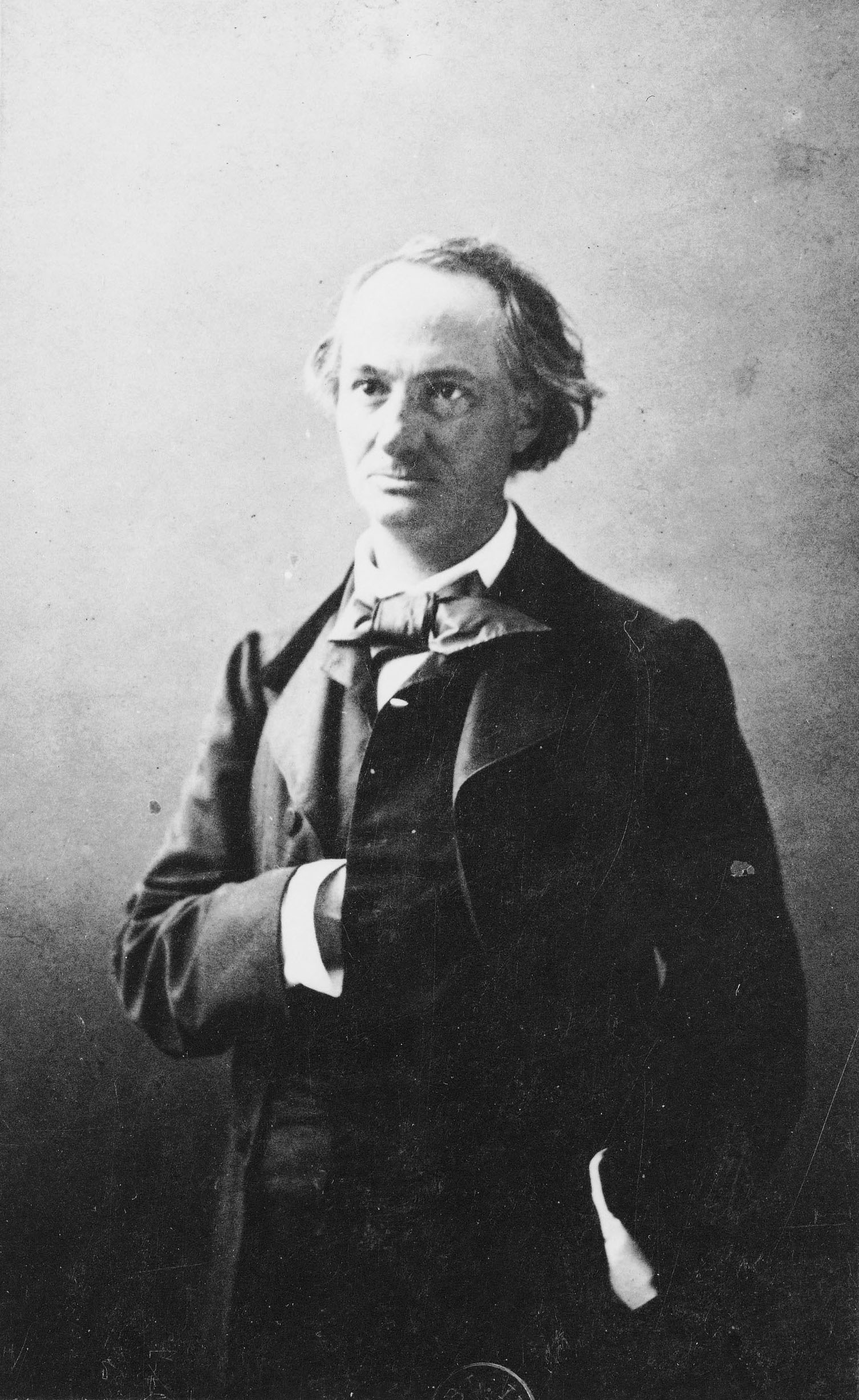 Fig. 16. Félix Nadar, Baudelaire, between 1854 and 1860, albumen print on paper pasted on card, 8.5 x 9cm. Bibliothèque nationale de France, Paris
