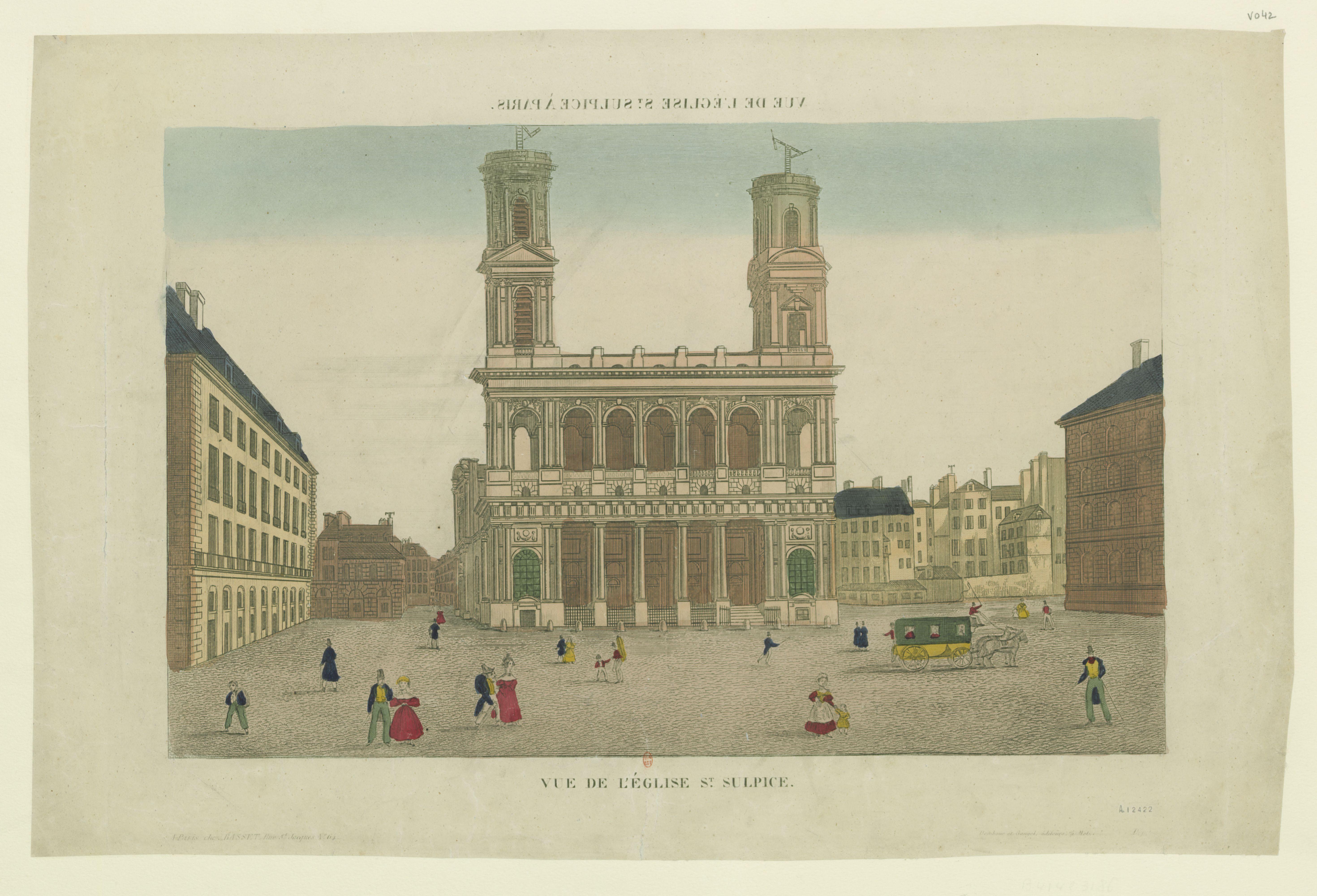 Fig. 2. Vue de l'église St Sulpice, 1840, coloured etching, 31 x 46cm. Bibliothèque nationale de France, Paris.