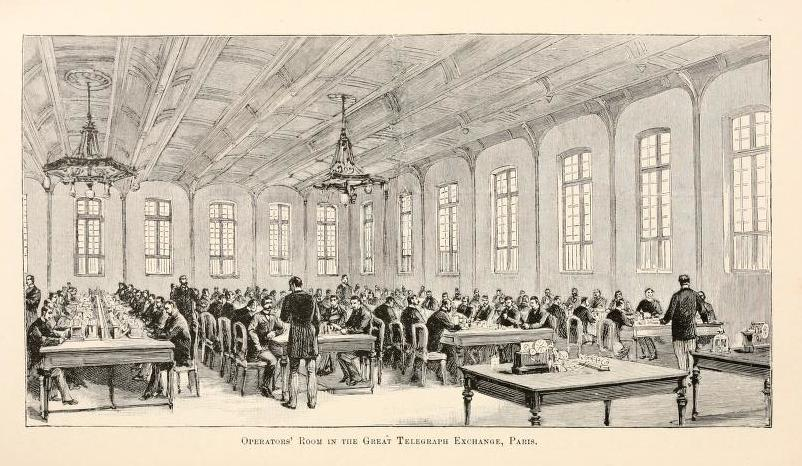 Fig. 5. Operators' Room in the Great Telegraph Exchange, Paris, from Popular Science Monthly, 44 (April 1894)