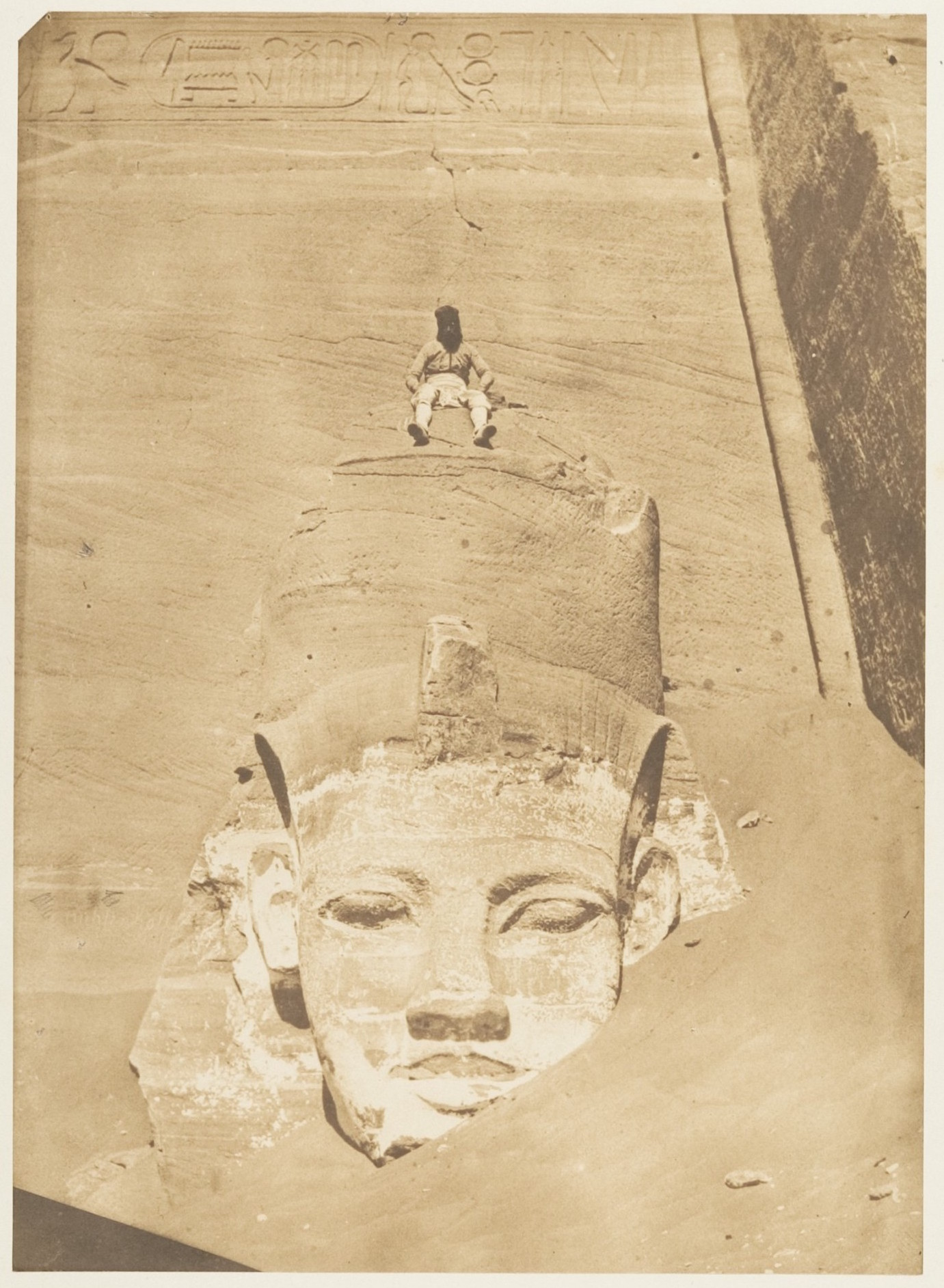 Fig. 6. Maxime du Camp, Westernmost Colossus of the Temple of Re, Abu Simbel, 1850, salted paper print from paper negative, 22.8 x 16.5cm. Gilman Collection, Gift of the Howard Gilman Foundation, 2005, Metropolitan Museum of Art, New York
