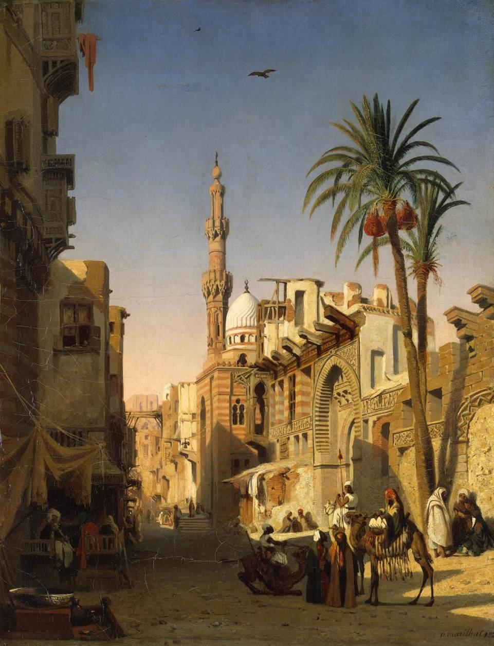 Figure 6. Prosper Marilhat, Ezbekiyah Street in Cairo, 1833, oil on canvas, 54 x 42 cm, The Hermitage, St. Petersburg.