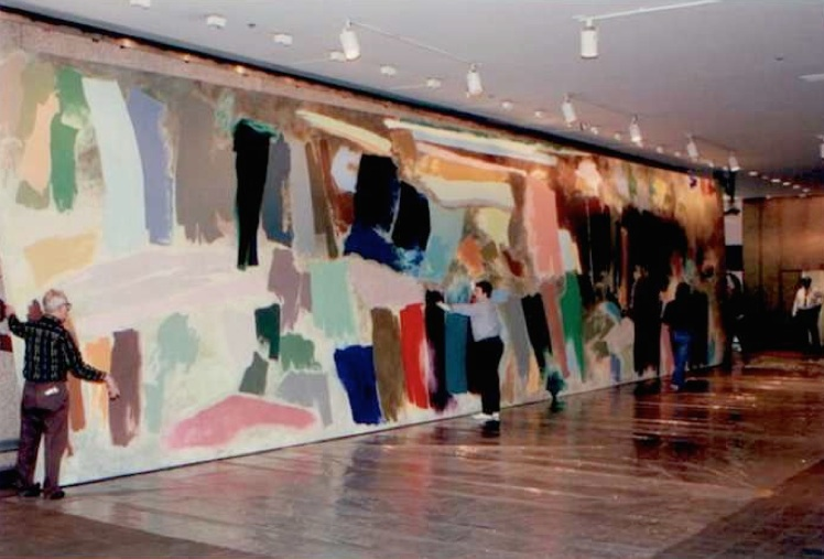 Figure 14 Apocalypsis cum figuras (Crossing), 1975 magna acrylic on primed (gesso) cotton duck canvas 148 x 675 in (375.9 x 1, 714.5 cm) Collection: Bank of America De-installation shot, 1991