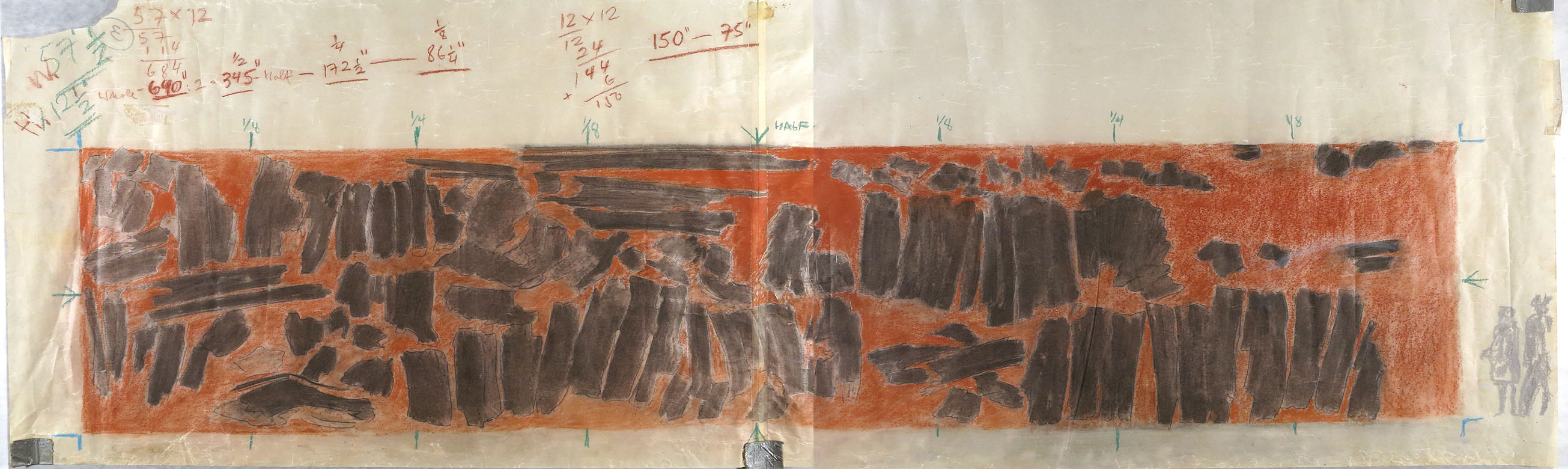 Figure 15 Study for Apocolypsis cum figuras (Crossing), 1975 crayon, charcoal, and graphite on two joined sheets of wove paper 18 3/16 x 47 ¼ in (46 x 120 cm) Friedel Dzubas Estate Archives
