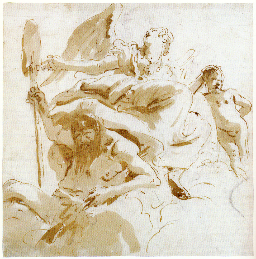 Fig. 3 Giovanni Battista Tiepolo, Winged Female Figure, River God, and Nude Boy, n.d., pen and brown ink, brush and pale and dark-brown wash, over black chalk, 21.8 x 21.7 cm (Metropolitan Museum of Art, New York).