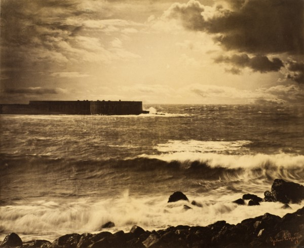 Gustave Le Gray, The Great Wave, Sète (Grande vague, Sète), 1857. Albumen print, 13 1/2 x 16 1/2 in. (34.3 x 42 cm) Los Angeles County Museum of Art, The Marjorie and Leonard Vernon Collection, gift of The Annenberg Foundation and Carol Vernon and Robert Turbin (M.2008.40.1284)