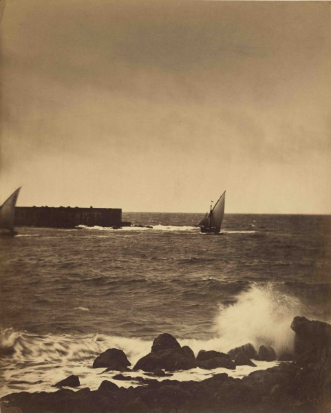 Fig. 11. Gustave Le Gray, Breaking Wave, 1857. Albumen print, 16 3/8 × 13 1/4 in. (41.4 × 33.5 cm). The J. Paul Getty Museum at the Getty Center, Los Angeles.