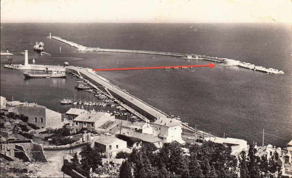 Fig. 12. Photograph of Sète, entrance to the harbor, with diagram indicating Le Gray's motif in figure 1. From postcard, ca. 1950, private collection.