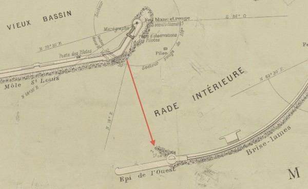 Fig. 13. Detail of map of Sète (Cette), 1910, with diagram indicating Le Gray's motif in figure 1. From Plan du port de Cette (Cette: Daumas-Brau, 1910). Photo: Bibliothèque nationale de France, Paris.