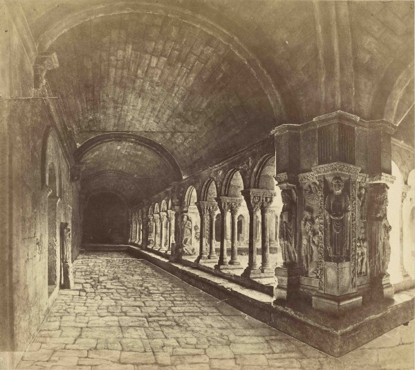 Fig. 15. Edouard Baldus, Cloister of St. Trophîme, Arles, 1851. Albumen print from ten wax-paper negatives, 14 1/2 x 16 1/2 in. (36.8 x 42 cm). The J. Paul Getty Museum, Los Angeles.