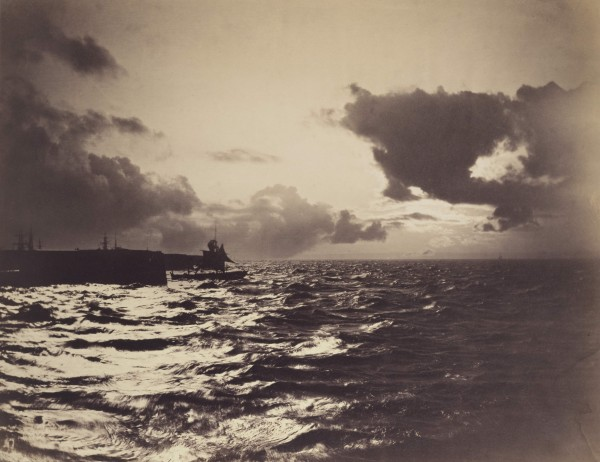 Fig. 5. Gustave Le Gray, Seascape with a Ship Leaving Port, 1857. Albumen print, 12 3/8 × 15 7/8 in. (31.3 × 40.3 cm). The J. Paul Getty Museum, Los Angeles.