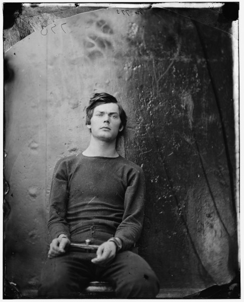 Alexander Gardner, Washington Navy Yard, D.C. Lewis Payne, in sweater, seated and manacled, 1865. Digital file from original glass-plate wet collodion negative, 8 1/4 x 10 1/4 in. (21 x 26 cm). Library of Congress Prints and Photographs Division, Washington, D.C.
