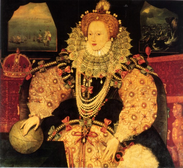 "Unknown artist, Portrait of Elizabeth I (""Armada Portrait"") (ca. 1590; oil on panel; Royal Museums Greenwich)"