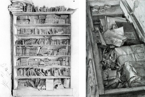 11. Adolph Menzel, Dr. Puhlmann's Bookcase, 1844. Pencil, 26.9 x 21 cm. Kupferstichkabinett, Berlin. 12. Adolph Menzel, Old Documents in a Chest, ca. 1880–90. Pencil, 20.9 x 12.8 cm. Kupferstichkabinett, Berlin.