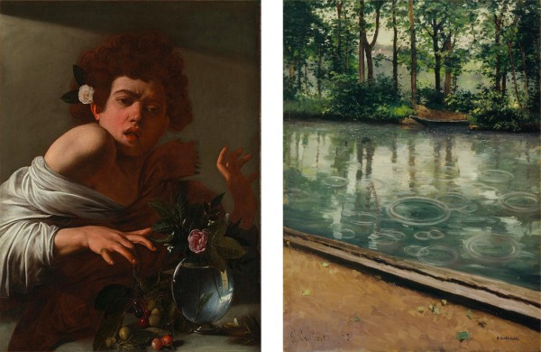 1. Michelangelo Merisi da Caravaggio, Boy Bitten by a Lizard, ca. 1595. Oil on canvas, 66 x 49.5 cm. National Gallery, London. 2. Gustave Caillebotte, The Yerres, Effect of Rain, 1875. Oil on canvas, 80.3 x 59 cm. Eskenazi Museum of Art, Indiana University, Bloomington.