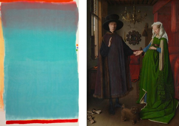3. Jules Olitski, Tin Lizzie Green, 1964. Alkyd and oil/wax crayon on canvas. 330.2 x 208.3 cm. Museum of Fine Arts, Boston. 4. Jan Van Eyck, The Arnolfini Portrait, 1434. Oil on oak, 82.2 x 60 cm. National Gallery, London.